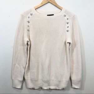 Banana Republic Ivory Sweater with Jewel Accent Lg